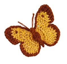 Stitchfinder : Crochet Nature Motif: Clouded Yellow Butterfly : Frequently-Asked Questions (FAQ) about Knitting and Crochet : Lion Brand Yarn Crochet Butterfly Free Pattern, Love Crochet, Diy Crochet, Crochet Crafts, Crochet Flowers, Crochet Toys, Crochet Projects, Crochet Lion, Crochet Animals
