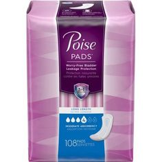 Poise Incontinence Pads, Moderate Absorbency, Long, 108 count