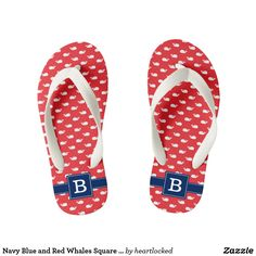 Navy Blue and Red Whales Square Monogram Kid's Flip Flops