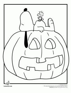 Snoopy, Woodstock and a Jack o' Lantern; 6 Peanuts Halloween coloring pages on this site