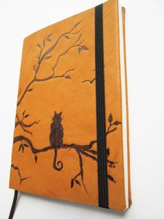 Leather Journal  Handmade Pocket Notebook carving drawing