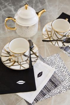 Kelly Wearstler Fine China and Cocktail Napkins