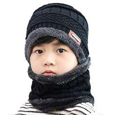 053bfe4add47 VOHONEY Bonnet Enfant Bonnet Hiver Tricoté Écharpe 2Pcs Ensemble Bonnet  Snood Garçon Fille Chapeau Hiver Bonnet