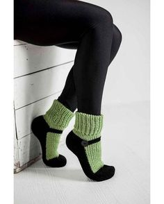 Knit Slipper Socks Adult Mary Jane Slippers Sox Green House Slippers Womens Slippers Home Slippers Black House Shoes Gifts Under 40 – Pantoufles au Crochet Knitted Slippers, Slipper Socks, Crochet Slippers, Knit Crochet, Crochet Mittens, Knitting Socks, Hand Knitting, Knitting Patterns, Knit Socks