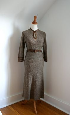 Vintage 1930s 40s Dress Brown Green Knit Boucle
