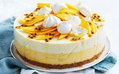 With juicy mangoes in season, there's no time like the present to make this mango and passionfruit cheesecake. Passionfruit Cheesecake, Passionfruit Recipes, Mango Cheesecake, Cheesecake Recipes, Dessert Recipes, Diabetic Cheesecake, Dessert Dishes, Christmas Recipes, Cookie Recipes