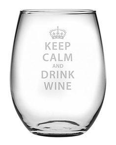 """Keep Calm & Drink Wine"" Set of 4 Stemless Wine Glasses"