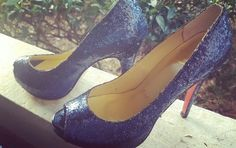Blue glitter peep toes red bottoms  not auth.