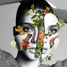 """El brasileño Marcelo Monreal """"explota"""" diferentes retratos de celebridades y top models, revelando elementos vegetales para crear estos collages surrealistas de su serie """"Faces [UN]bonded""""."""