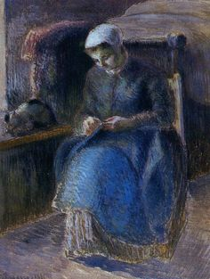 Woman Sewing, 1881. Camille Pissarro
