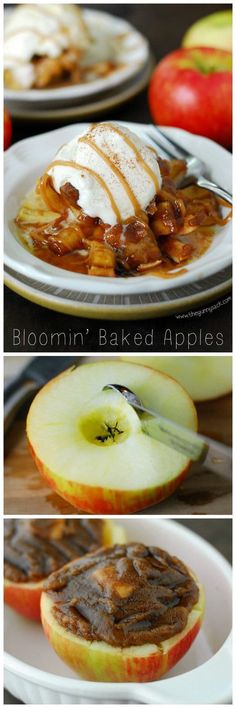 Bloomin' Baked Apples taste like apple pie with an ooey, gooey caramel center! This easy dessert recipe for fall and is made with Honeycrisp apples. Fruit Recipes, Apple Recipes, Fall Recipes, Dessert Recipes, Cooking Recipes, Delicious Desserts, Yummy Food, Sorbets, Baked Apples