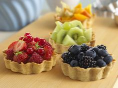 These little fruit tarts are made from shortcrust pastry and can be filled with jewel-coloured, seasonal fruits.