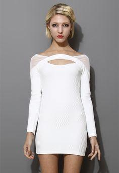 White Mesh-Paneled Body-con Dress