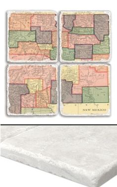 """New Mexico Map Coaster Set    An impressive collection of marble coasters featuring a beautifully colored map of New Mexico.   Each New Mexico coaster measures 4"""" x 4"""", and is constructed of high quality, Botticino tumbled marble.  A perfect gift for weddings, anniversaries, business gifts and any other special event in your life.  Best of all, these New Mexico coasters are artfully constructed in the USA!     Botticino Tumbled Marble  Each Tile Measures 4""""x4"""""""