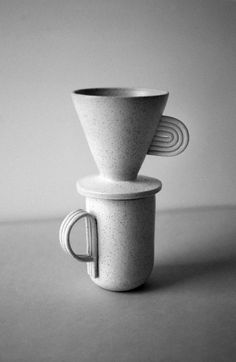 Natalie Weinberger Ceramics Pinna coffee dripper and mug Speckled stoneware 2014