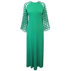 Preowned 1970's Bill Blass Spring Green Lattice Work Evening Gown ($2,950) ❤ liked on Polyvore featuring dresses, gowns, green, zip dress, green sleeve dress, spring green dress, green evening gown and preowned dresses