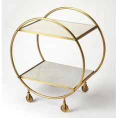 Gold Metal & Off White Marble Circular Frame Bar Cart