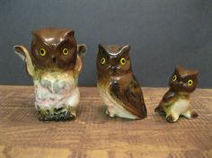 Small Ceramic Owl Set by Suite22 on Etsy, $6.00