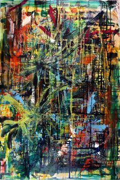 ARTFINDER: Gestural First by Nestor Toro - Detailed painting with iridescent effects, vibrant colors and gestural motion. The background is full of paint drips and color blending with very bold palett...