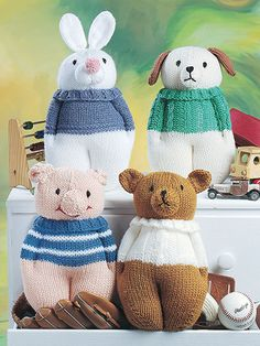 These knit stuffed toys, the latest needlecraft trend, will delight young and old alike. Choose from 6 adorable animal designs including a cat, dog, pig, bear, rabbit and elephant. They're perfect gifts for baby showers, birthdays and holidays! Knit ...