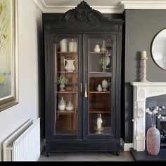 "Chalk Paint Ireland on Instagram: ""We love the feel of this Athenian Black piece coupled with the wooden interior by @forgottengems_chic 🥰 isn't it stunning?!"" Deco Furniture, Bespoke Furniture, Antique Furniture, Painted Furniture, Kitchen Armoire, Gray Console Table, Modern Chest Of Drawers, French Bathroom, French Armoire"
