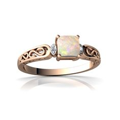 Opal Filigree Scroll 14K Rose Gold Ring R2430 - front view
