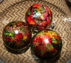 alcohol ink projects: Christmas Tree Ornaments