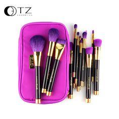 TZ 15 unids Pinceles de Maquillaje de Pelo Suave Contorno Pincel de Maquillaje Pro Cosmetic Blending Fundación Kabuki Cepillo del maquillaje de la Ceja con la Bolsa