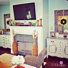 Vintage Buffets on sides of fireplace.....