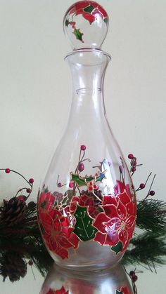 Hand painted Christmas decanter Winter by PaintedGlassBiliana