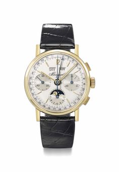 Breguet. A very fine, rare and attractive 18K gold triple calendar chronograph wristwatch with moon phases SIGNED BREGUET, NO. 576, MANUFACTURED IN 1972 AND SOLD ON 22 DECEMBER 1973 TO M. BELMONDO FOR THE SUM OF 3,500 FRANCS
