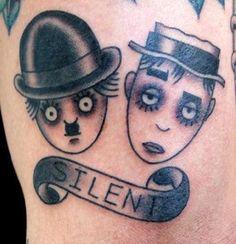 Chaplin/Keaton tattoo