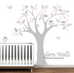 vinyl wall decals nursery tree with pattern leaves by Modernwalls