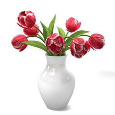 standart materials - Red Tulips Bouquet In The Vase standart materials. by archstyle