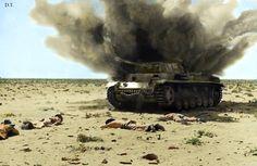 Destruction of a Panzer 3 by Australian troops somewhere in western Egyptom.