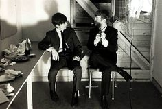 The Beatles October 1963 Stockholm George Harrison and John Lennon in their dressing room.