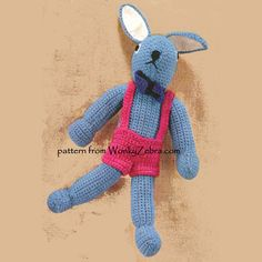 An unusual crochet bunny rabbit with a retro look; crocheted flat and joined- not made amigurumi spiral method.Nice Easter gift for for midcentury fans ! WZ511