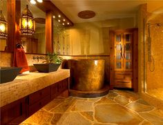 Dazzling Bathroom Design Unique Come With Rain Ceiling Shower Over Round Over Antique Bathtub And Stone Flooring Plus Wide Mirror Together Rustic Wood Double Vanity Design With Ceramic Top : Bizezz