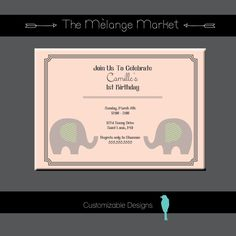 Classic Elephant Birthday Party Invite by TheMelangeMarket on Etsy  #themelangemarket #birthdaypartyinvite #custominvitations #elephantinvite #1stbirthday #firstbirthdayinvitations #classicinvitation