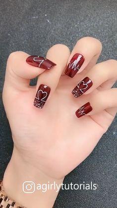 11 amazing hand-painted nail art designs, part Matte Pink Nails, Purple Nails, Red Nails, Hallographic Nails, Argyle Nails, Nail Nail, Coffin Nails, Funky Nail Art, Funky Nails