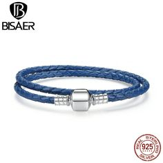 Authentic 925 Silver Blue Braided Leather Bracelet Men Bracelets & Bangles Compatible with DIY Sterling Silver Men Jewelry 34cm