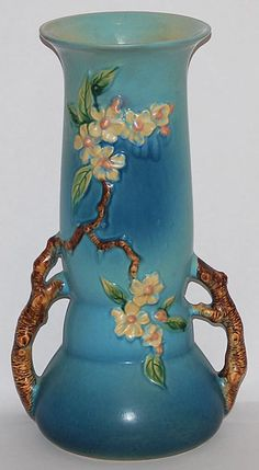 Roseville Pottery Apple Blossom Blue Vase 392-15