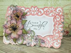 Card made with the Sunrise Lily Collection from Heartfelt Creations. Made by Liz Walker