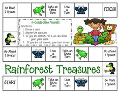 Free! Rainforest Treasures! /r/ controlled vowel board game & cards.