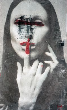 Monica Marioni is a mixed media artist from Italy. In her work she combines different techniques and materials to create fascinating, dark portraits.