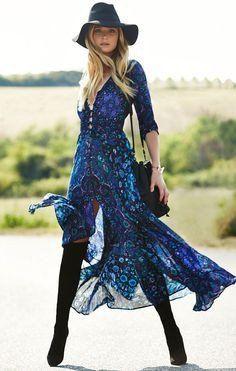 "Boho Maxi Dress Navy Blue Floral ""Kiss The Sky"" Long Flowing Summer Gown Button…"