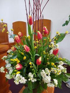 Easter Flower Arrangements, Easter Flowers, Floral Arrangements, Memorial Flowers, Church Flowers, Mary, Logo, Places, Garden