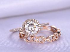 2pcs Wedding Ring Set,6.5mm Round Cut Moissanite Engagement ring,14k Rose gold,Full eternity diamond Matching Band,Floral Wedding Band by milegem on Etsy