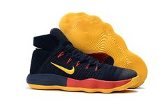 save off 20251 4d2ef Latest and Cheapest Nike Hyperdunk 2017 Flyknit Dark Blue Yellow Red Basketball  Shoe For Sale