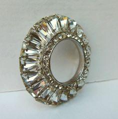 Vintage  Rhinestone Pin / Clear Rhinestone Brooch by BasyaBerkman, $38.00